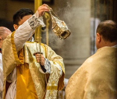 Incensing of the Sub Deacon at High Mass.  Photo credit: Jon Aron